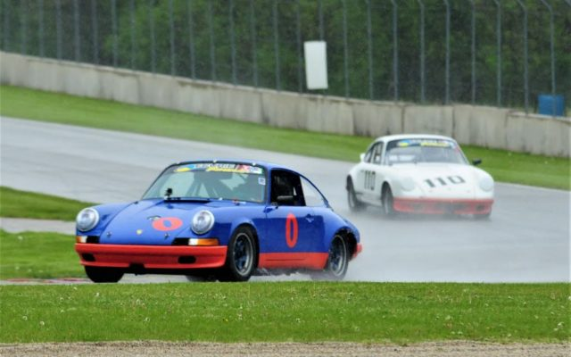 #0 George F. Balbach (Porsche 911) and #110 Lisa Hansen (Porsche 911S) in turn 3 at Road America.  [Dave Jensen Photo]