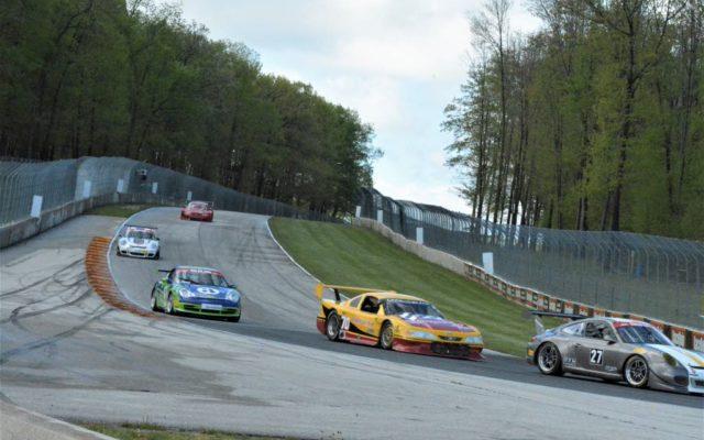 #27 Robert Wisen (PORSCHE GT3), #70 Adam Rupp (MUSTANG) and #3 Lukas Pank (PORSCHE GT3 CUP 996) head into turn 5 in Group 10 & IGT, race 2 on Sunday at Road America.  [Dave Jensen Photo]