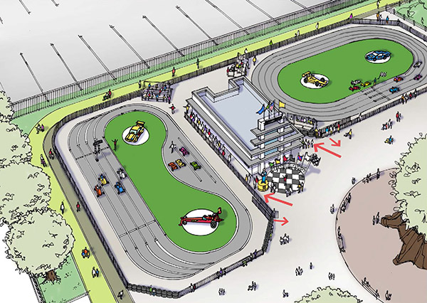 Concept drawing of the Indianapolis Motor Speedway Pedal Car Racetrack Experience