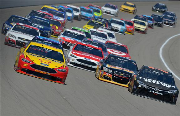 Joey Logano and Martin Truex Jr lead the field at Michigan International Speedway. [Photo by Drew Hallowell/Getty Images]