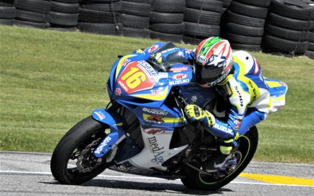 #16 Nick McFadden (SUZUKI GSX-R600) in turn 6 at Road America on Friday.  [Dave Jensen Photo]
