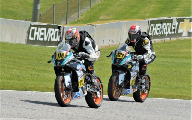 #118 Benjamin Smith (KTM-RC390) and #321 Jake Leahey (KTM-RC390) between turns 5 and 6 at Road America on Friday.  [Dave Jensen Photo]