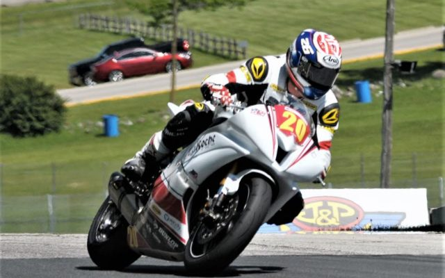 C.J. LaRoche (YAMAHA YZF-R6) going up the hill to turn 6 at Road America on Friday.  [Dave Jensen Photo]