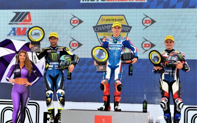 Qualifying for MOTUL SUPERBIKE & SUPERSTOCK 1000: #4 Josh Hayes (SUZUKI) 2nd place, #95 Roger Hayden (YAMAHA) 1st place and #1 Cameron Beaubler (YAMAHA) 3rd place.  [Dave Jensen Photo]