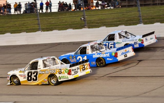 Going three wide coming off turn 4 Mike Senica #83, Johnny Sauter #21 and Ryan Truex.  [Kim Kemperman Photo]