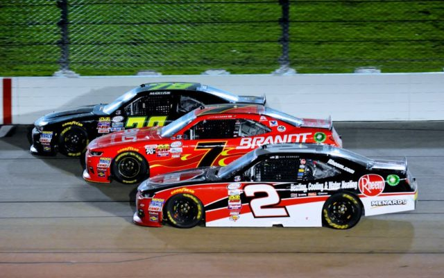 Ben Kennedy #2, Justin Allgaier #7 and Tommy Joe Martins #78 go 3 wide.  [Kim Kemperman Photo]