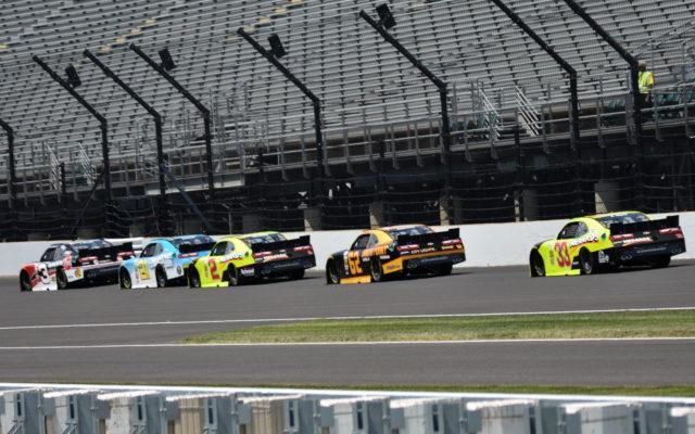 RCR teammates Ty Dillon, Daniel Hemric, Paul Menard, Brendan Gaughan and Brandon Jones draft at the Indianapolis Motor Speedway.  [John Wiedemann Photo]