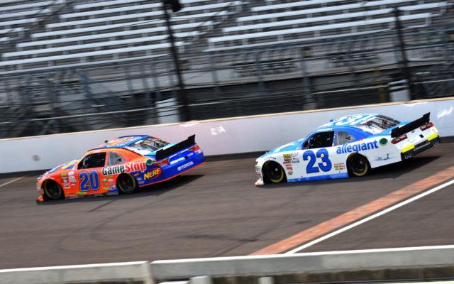 Erik Jones runs with Spencer Gallagher at Indianapolis.  [John Wiedemann Photo]