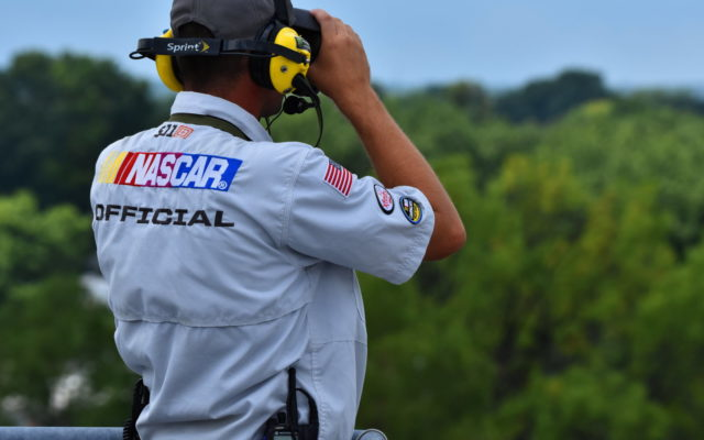 NASCAR spotter keeping an eye on things.  [John Wiedemann Photo]