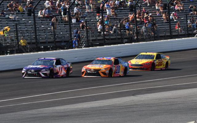Denny Hamlin, Matt Kenseth and Joey Logano at Indianapolis.  [John Wiedemann Photo]
