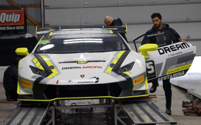 Lamborghini going through tech.  [Jack Webster Photo]
