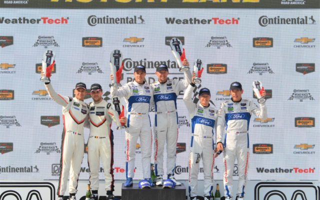 #912 Gianmaria Bruni/Laurens Vanthoor (Porsche 911) 2nd place, #66 Dirk Mueller/Joey Hand (Ford GT) 1st place and #67 Ryan Briscoe/Richard Westbrook (Ford GT) 3rd place in GTLM.  [Dave Jensen Photo]