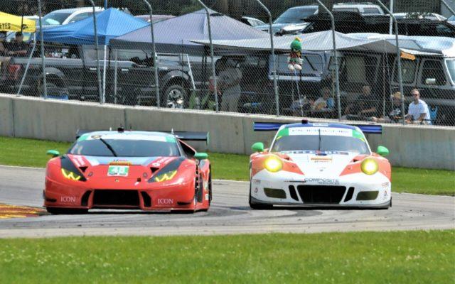 #48 Bryan Sellers/Madison Snow (Lamborghini Huracan) leads #54 into turn 3.  [Dave Jensen Photo]