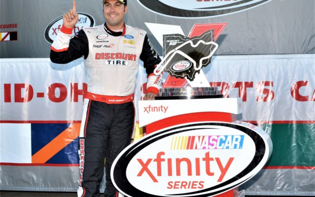 Sam Hornish Jr. after winning the 5th annual Mid-Ohio Challenge NASCAR Xfinity Series race.  [Dave Jensen Photo]