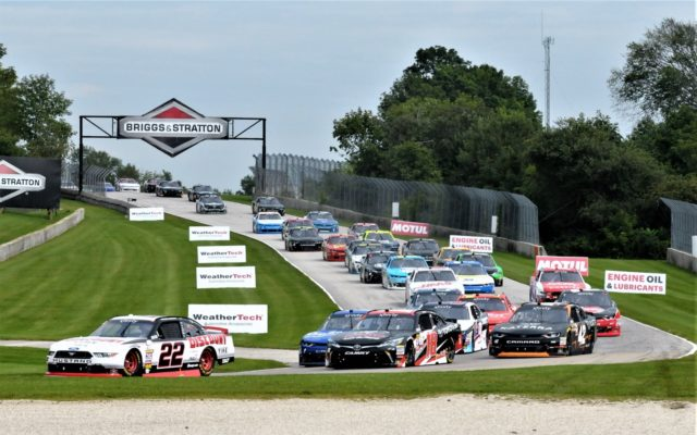 #22 Austin Cindric and the pack thru turn 3 on start of the NASCAR Xfinity Johnsonville 180 at Road America.  [Dave Jensen Photo]