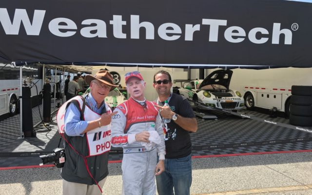 """""""Flat Dindo"""" with the authors in the paddock at Petit Le Mans.  [Jack Webster Photo]"""