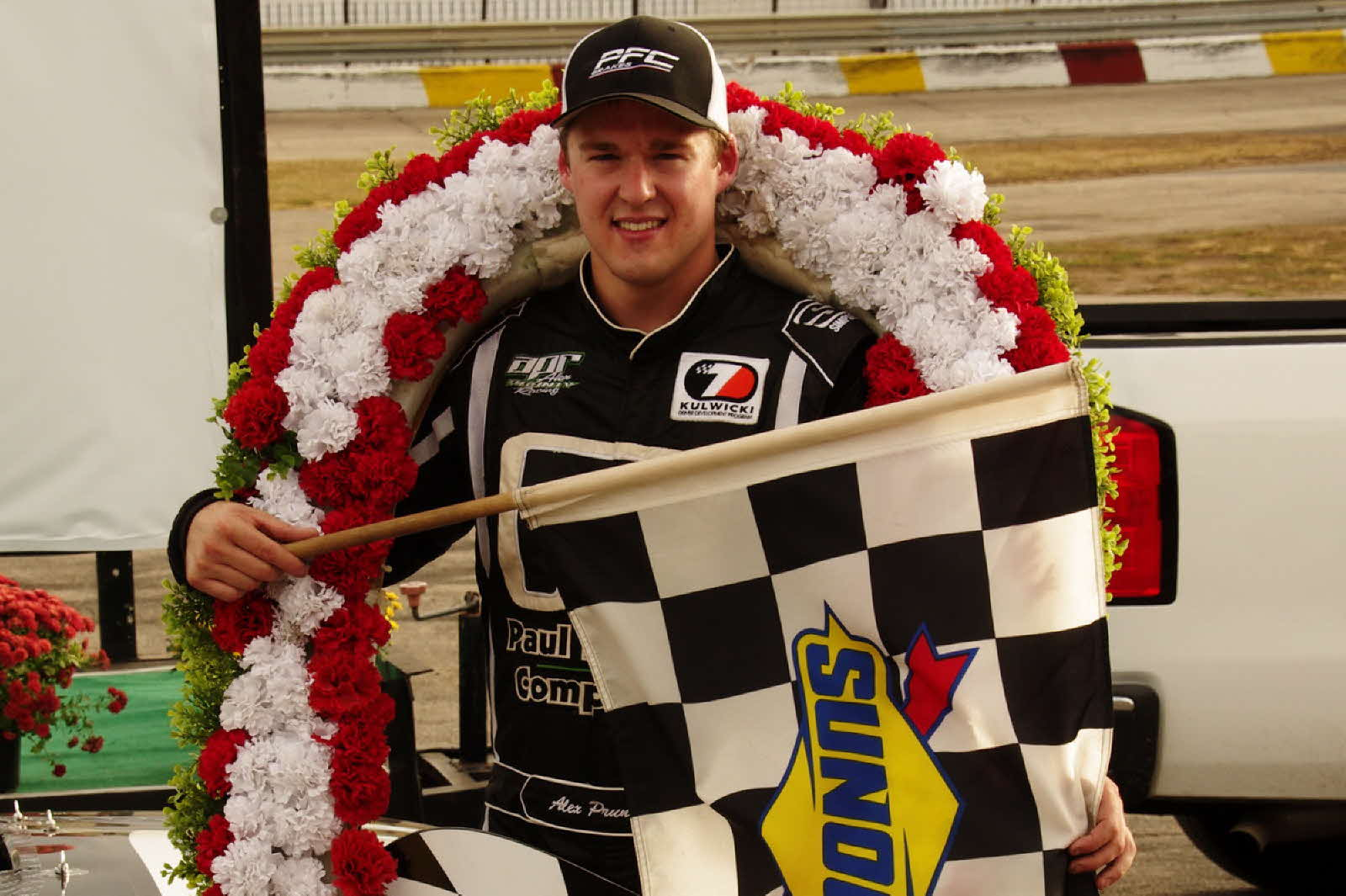 Alex Prunty dominated the 52nd Annual National Short Track Championship Super Late Model race at Rockford Speedway. [Roy Schmidt Photo]