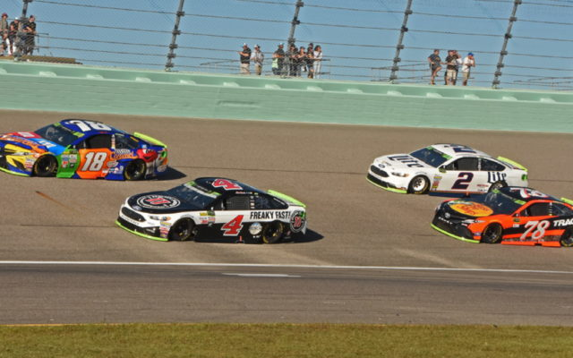 The four championship contenders pace the field as part of the colorful pre-race action.  [Joe Jennings Photo]