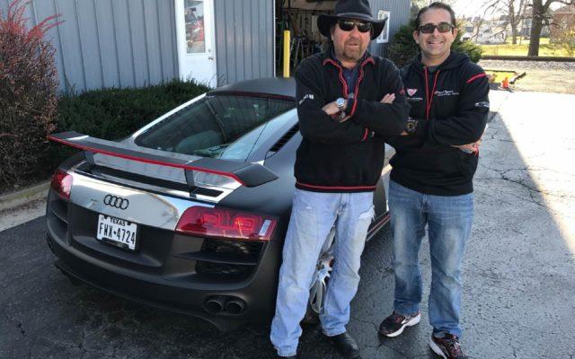 Brad Kettler and Eddie LePine outside Kettler Motor Werks.  [Jack Webster Photo]