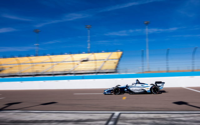 Max Chilton driving for Carlin Racing at speed at ISM Raceway. [credit Andy Clary / Spacesuit Media]