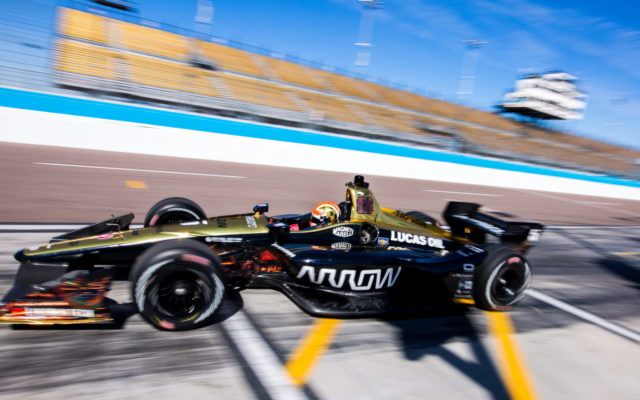 James Hinchcliffe takes off from the pits at ISM Raceway.  [credit Andy Clary / Spacesuit Media]