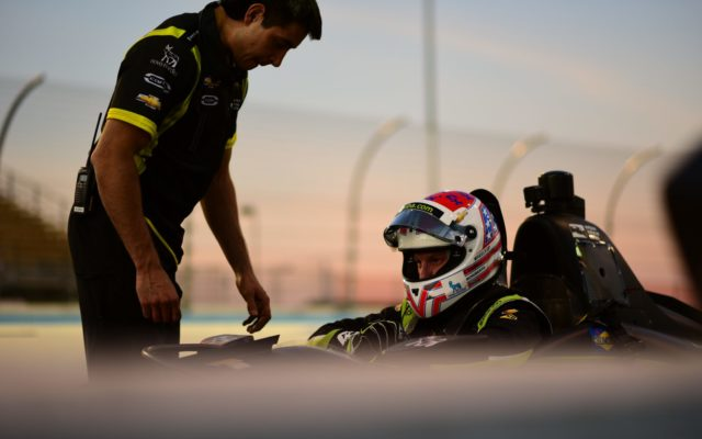 Charlie Kimball in the cockpit during the Verizon IndyCar test at ISM Raceway.  [credit Jamie Sheldrick / Spacesuit Media]
