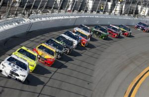 Brad Keselowski and Ryan Blaney lead the field during the Monster Energy NASCAR Cup Series Advance Auto Parts Clash at Daytona International Speedway. [Photo by Brian Lawdermilk]