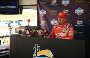 Kyle Busch's introduces his sponsor Skittles Sweet Heat to the media at ISM Raceway. [photo courtesy Lainie McKeague]