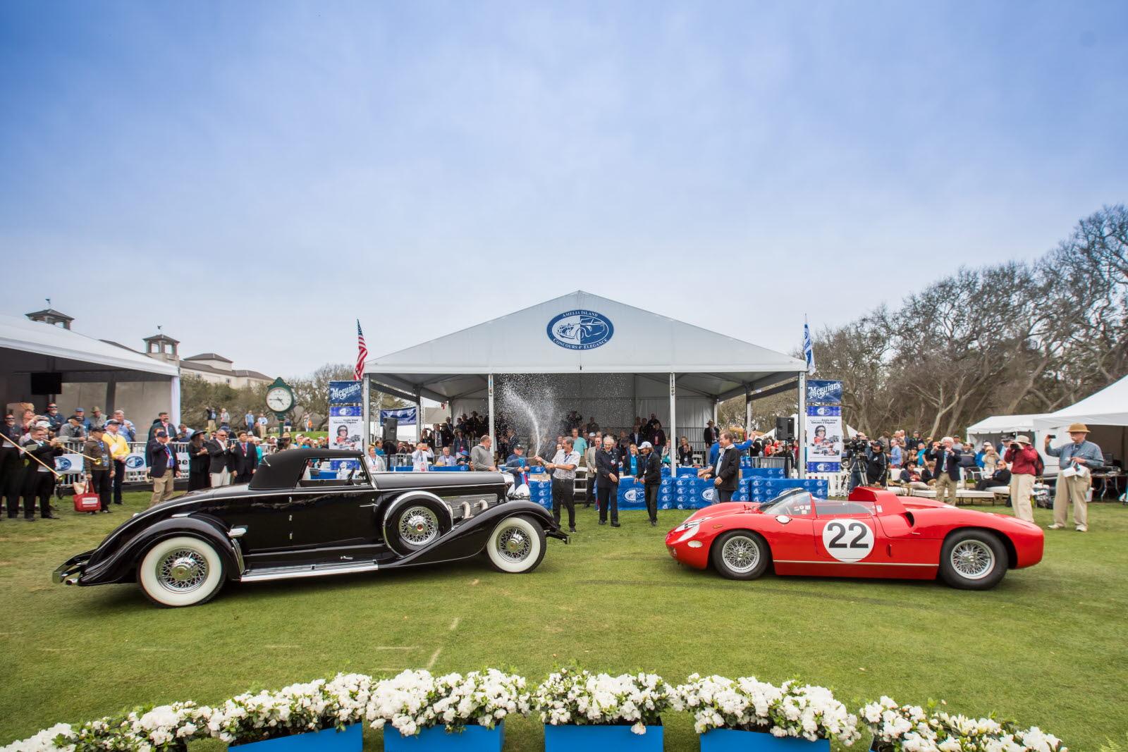 Best in show winners at the 23rd annual Amelia Island Concours d'Elegance, 1929 Duesenberg J/SJ Convertible and 1963 Ferrari 250/275P. [Photo courtesy Deremer Studios LLC]