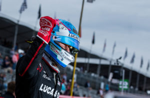 Robert Wickens celebrates his pole winning run at the Grand Prix of St Petersburg. [credit Andy Clary / Spacesuit Media]