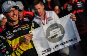 Sebastien Bourdais wins the Verizon P1 Award at the ISM Raceway. [credit Andy Clary / Spacesuit Media]