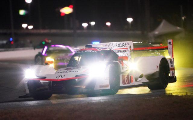 Acura DPi at night at Daytona.  [Photo by Jack Webster]