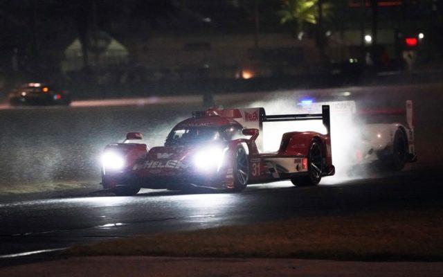 Night rain at Daytona.  [Photo by Jack Webster]