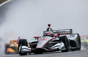 Josef Newgarden led the field through the rain in the Honda Indy Grand Prix of Alabama at Barber Motorsports Park. © [Andy Clary / Spacesuit Media]