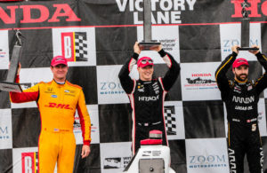 Ryan Hunter-Reay (2nd), Josef Newgarden (winner) and James Hinchcliffe (3rd) on the podium for the Honda Indy Grand Prix of Alabama at Barber Motorsports Park. © [Andy Clary / Spacesuit Media]