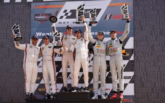 Prototype podium at the Acura Sports Car Challenge at Mid-Ohio.  [Photo by Jack Webster]