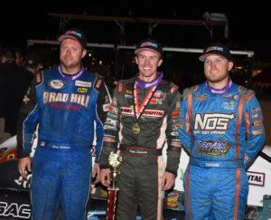 Top 3 finishers in Hoosier 100 - Shane Cockrum, winner Kody Swanson and Tyler Courtney. [Joe Jennings Photo]