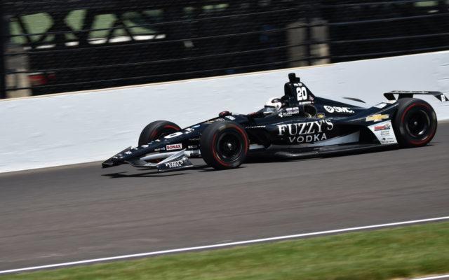 Ed Carpenter through turn three in the 2018 Indianapolis 500.  [John Wiedemann Photo]