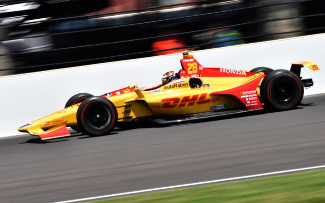 Ryan Hunter-Reay through turn three at the Indianapolis Motor Speedway.  [John Wiedemann Photo]