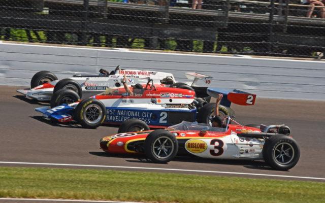 A family of Unser driven cars takes a nostalgic pre-race lap.  [Joe Jennings Photo]