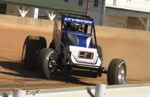 Chris Dyson slides through first turn at Indiana State Fairgrounds. [Joe Jennings Photo]