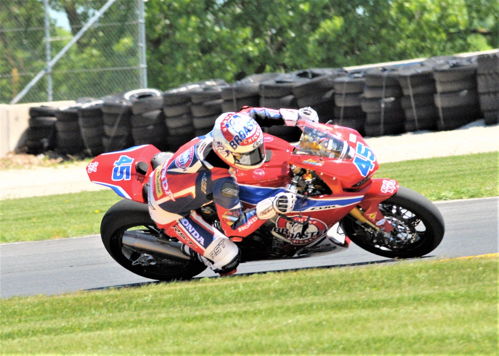 #45 Cameron Peterson (Honda CBR-1000RR) in turn 14 in Motul Superbike class. [Dave Jensen Photo]