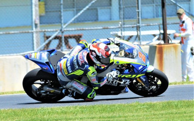 #42 Benjamin Ferris (Yamaha YZF-R3)in turn 14 in Liqui Moly Junior practice.  [Dave Jensen Photo]