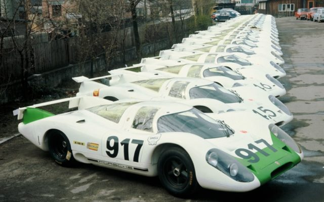 The lineup of Porsche 917s at the factory in 1969.  [photo by Porsche Motorsport]