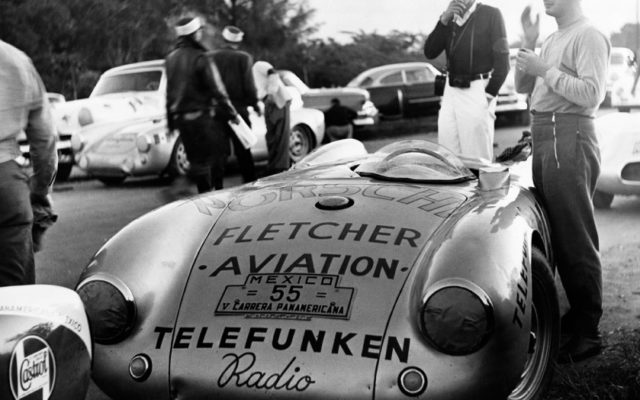 Hans Herrmann and the Porsche 550.  [photo by Porsche Motorsport]