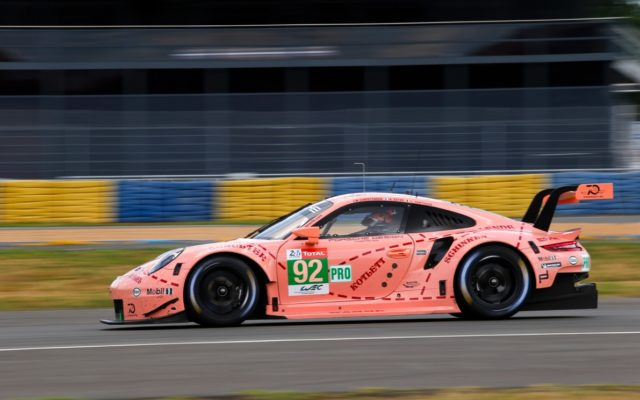 Pink Pig tribute 911 RSR at speed during Le Mans test.  [photo by Porsche Motorsport]