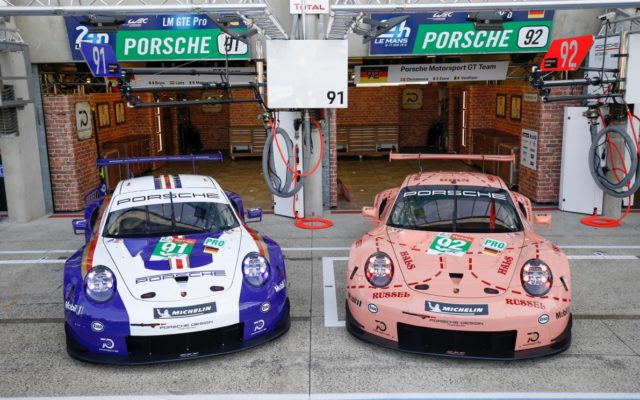 Rothmans and Pink Pig tribute cars at Le Mans.  [photo by Porsche Motorsport]