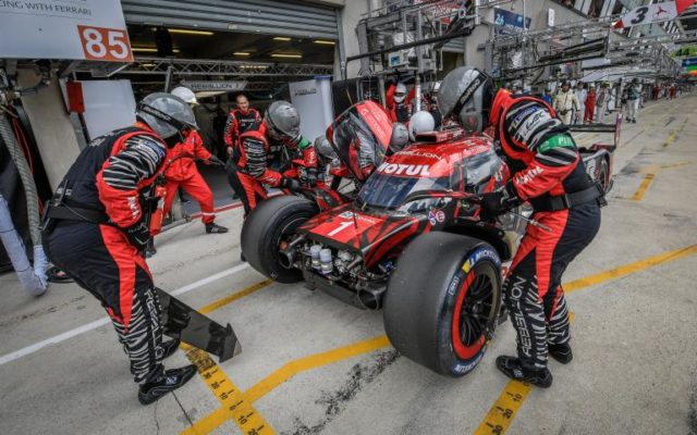 Repairs to Rebellion after first lap incident.  [Photo by ACO]