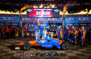 Scott Dixon celebrates in victory lane after capturing his 43rd career Verion IndyCar Series win. © [Tom Loomes / Spacesuit Media]