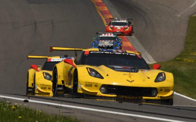 Turn 9 uphill climb features the pair of factory Corvettes. [Joe Jennings Photo]
